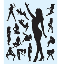 Sexy girl gesture silhouettes vector