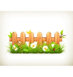 Spring grass and wooden fence vector image