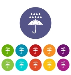 Umbrella and rain set icons vector image vector image
