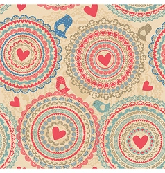 Vintage seamless pattern with heart elements vector