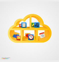 yellow cloud shelf with icons vector image vector image