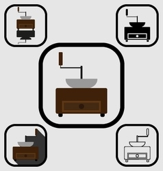 Coffee mill icons set vector