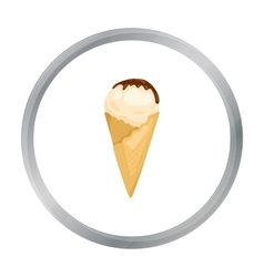 Ice cream on the waffle cone icon in cartoon style vector