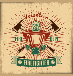 Vintage firefighting label vector