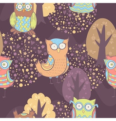 Cute cartoon owls fantasy coloful pattern vector
