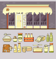 Dairy shop and set of colorful food and drin vector