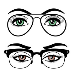Female eyes with glasses vector