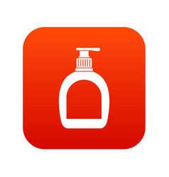 Bottle with liquid soap icon digital red vector