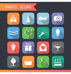 Flat birthday party celebrate icons and symbols vector