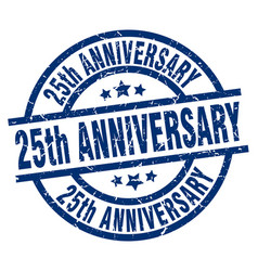 25th anniversary blue round grunge stamp vector