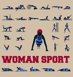30 sporty woman fitnes vector