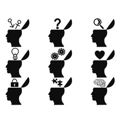 black open human head icons set vector image