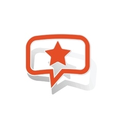 Star message sticker orange vector