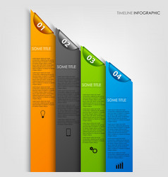 Info graphic with colored stripes and bookmarks vector