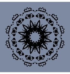 Symmetrical mandala of ink splashes on gray vector
