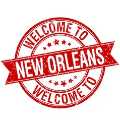Welcome to new orleans red round ribbon stamp vector