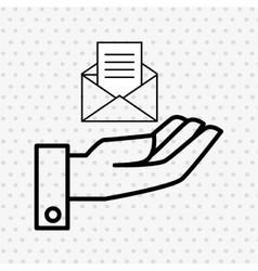 Hand and envelope isolated icon design vector