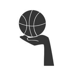 basketball ball hand vector image
