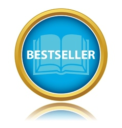 Blue gold best seller icon vector