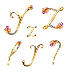 Bronze alphabet with colored gems letters Y Z and vector image