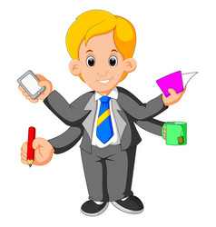 businessman with multi tasking and multi skill vector image