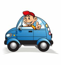 cartoon motorist vector image vector image