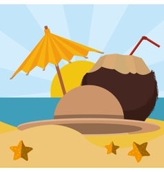 cocktail coconut umbrella beach sand star vector image