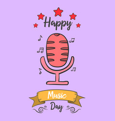 Collection music day card style vector