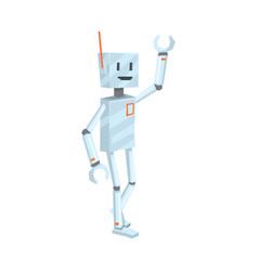 cute cartoon robot character waving hello vector image