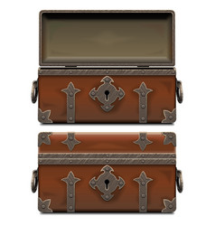 Empty old pirate forged chest vector