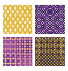 Ethnic colored seamless patterns vector