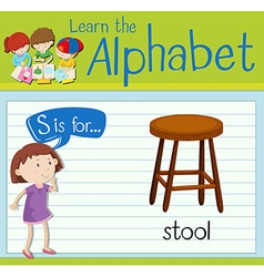 Flashcard alphabet s is for stool vector