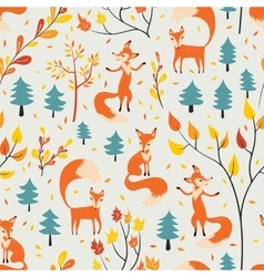 Fox in autumn forest vector