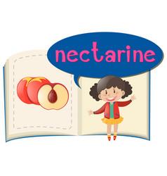Fresh nectarine and little girl vector