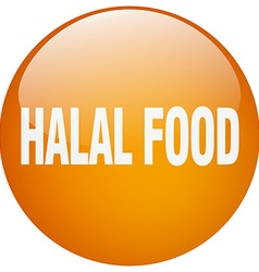 Halal food orange round gel isolated push button vector