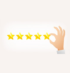 Hand giving five star rating vector