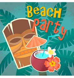 Hawaiian mask and cocktail in coconut vector