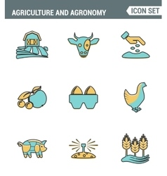 Icons line set premium quality of agriculture and vector image
