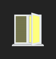 Light from the open window with shutters vector