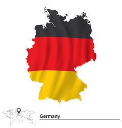 Map of Germany with flag vector image vector image