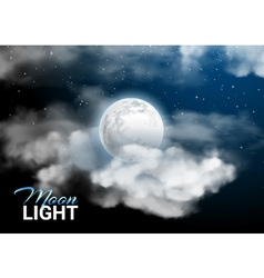 Moonlight night Full Moon Mystical sky Realistic vector image