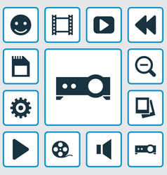 Music icons set collection of silence film gear vector