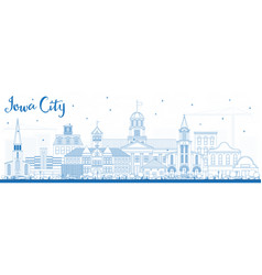 Outline iowa city skyline with blue buildings vector
