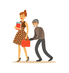 Pickpocket trying to steal bag from girl colorful vector