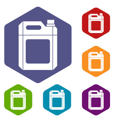 plastic jerry can icons set vector image