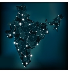 Political night map of India with lights vector image