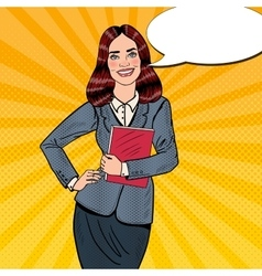 Pop art successful business woman holding folder vector