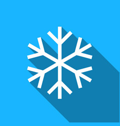 Snowflake flat icon with long shadow vector