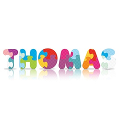 Thomas written with alphabet puzzle vector
