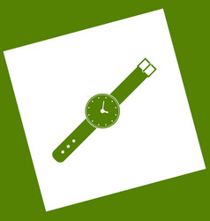 Watch sign white icon vector